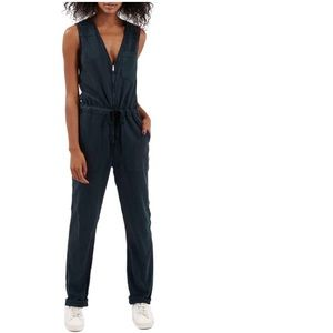 Topshop tie-waist jumpsuit w/ front zipper closure
